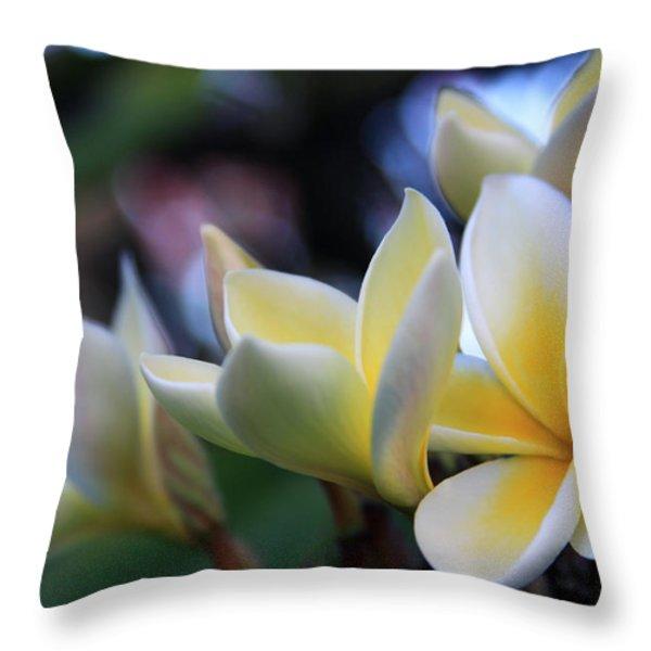 Plumeria Frangipani Sunshine Lei Throw Pillow by Karon Melillo DeVega