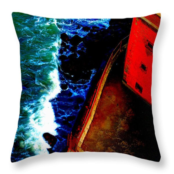 Plunging From Golden Gate Throw Pillow by Holly Blunkall