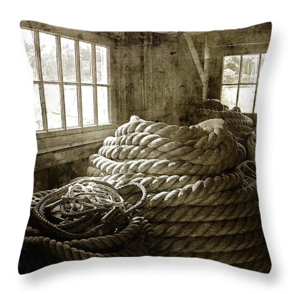 Plymouth Cordage Company Ropewalk Throw Pillow by Cindi Ressler