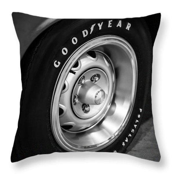 Plymouth Cuda Rallye Wheel Throw Pillow by Paul Velgos