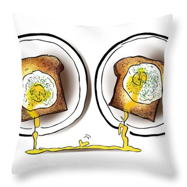 Poached Egg Love Throw Pillow by Mark Armstrong