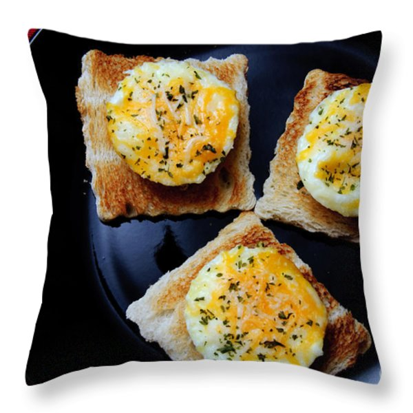 Poached Eggs On A Raft Throw Pillow by Andee Design