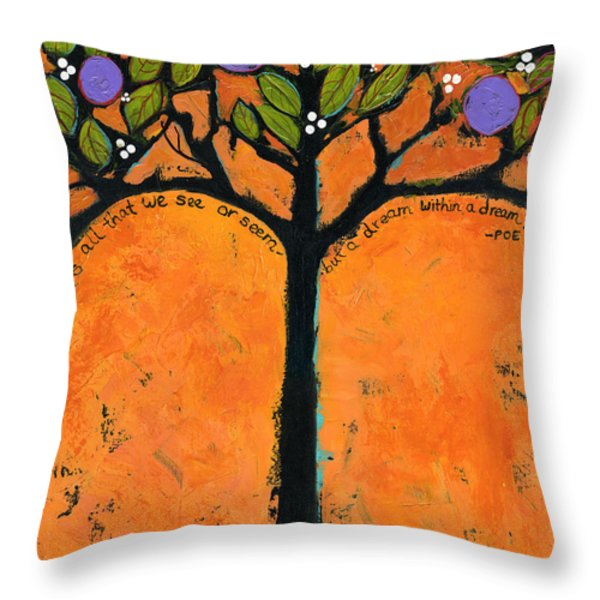 Poe Tree Art Throw Pillow by Blenda Studio