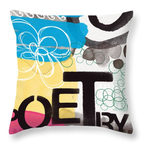 Poetry- Contemporary Abstract Painting Throw Pillow by Linda Woods