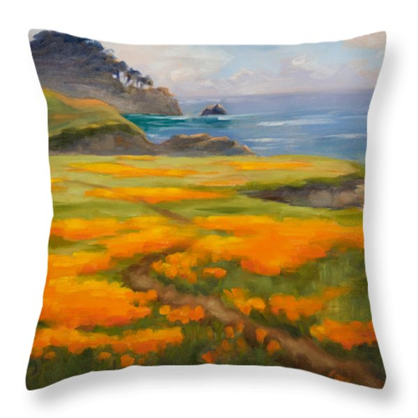 Point Lobos Poppies Throw Pillow by Karin  Leonard