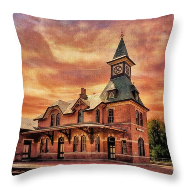 Point Of Rocks Train Station  Throw Pillow by Lois Bryan