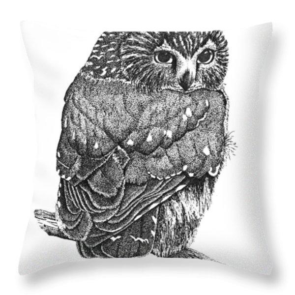 Pointillism Sawhet Owl Throw Pillow by Renee Forth-Fukumoto