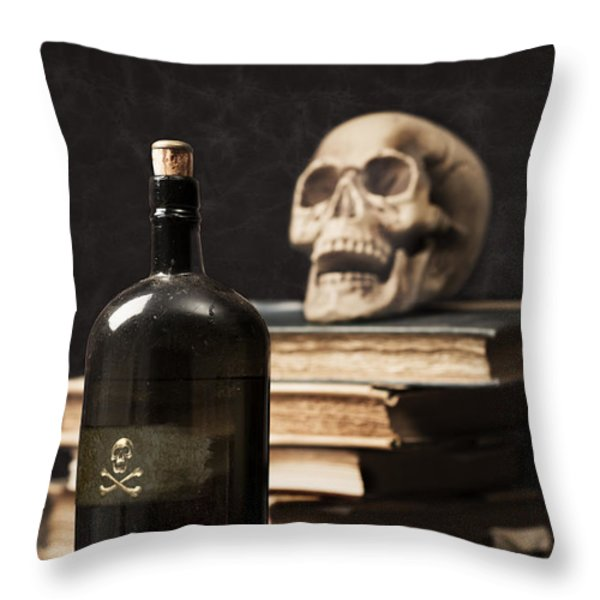Poison Bottle Throw Pillow by Amanda And Christopher Elwell
