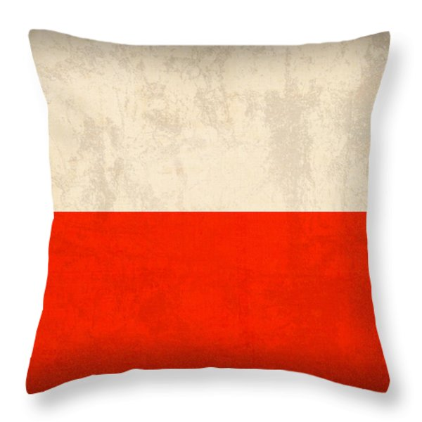Poland Flag Distressed Vintage Finish Throw Pillow by Design Turnpike