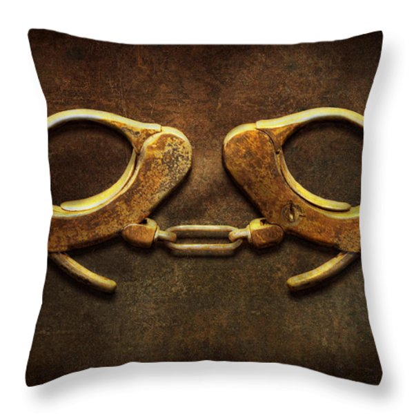 Police - Handcuffs aren't always a bad thing Throw Pillow by Mike Savad