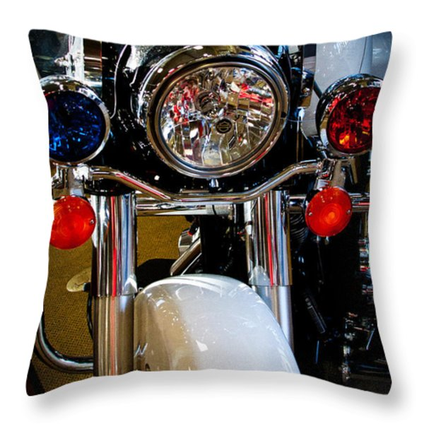 Police Harley Throw Pillow by David Patterson