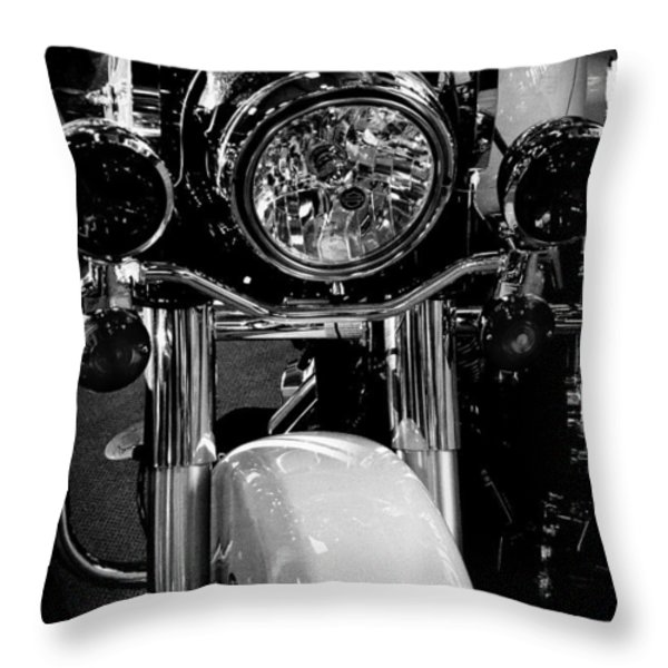 Police Harley II Throw Pillow by David Patterson