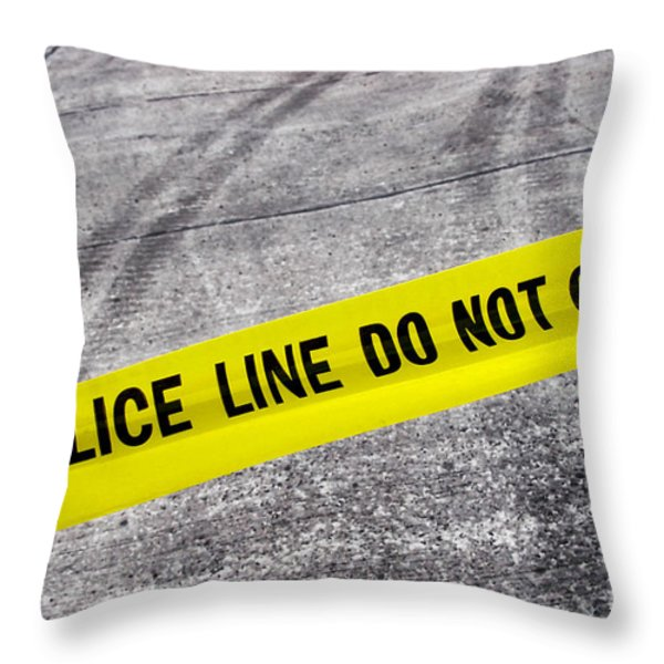 Police Line Throw Pillow by Olivier Le Queinec