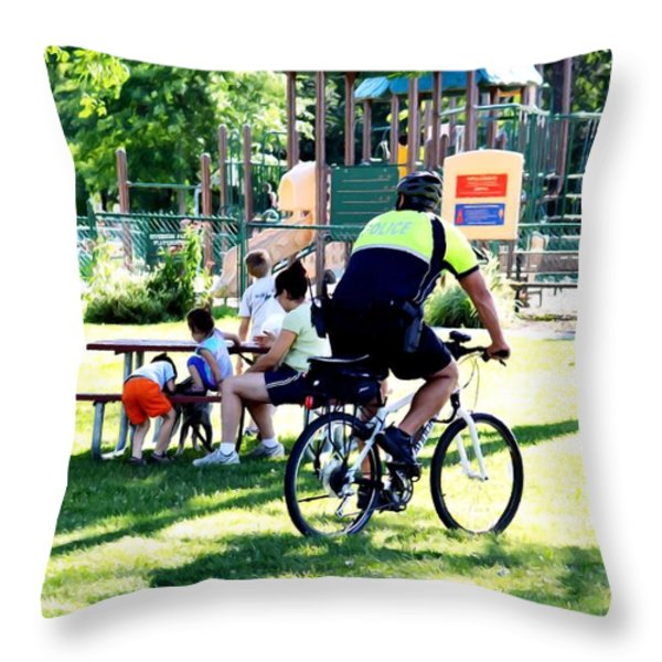 Police Officer Rides A Bicycle Throw Pillow by Lanjee Chee