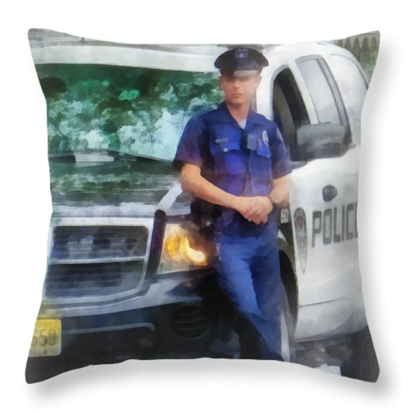 Police - Policeman By Patrol Car Throw Pillow by Susan Savad