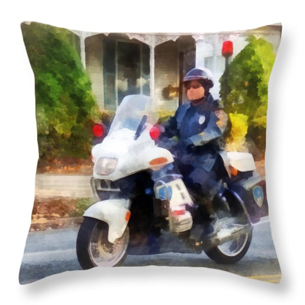 Police - Suburban Motorcycle Cop Throw Pillow by Susan Savad