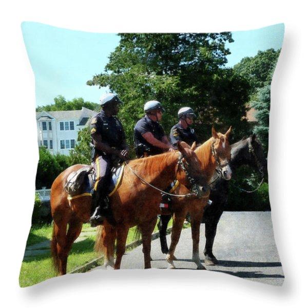 Policeman - Mounted Police Profile Throw Pillow by Susan Savad