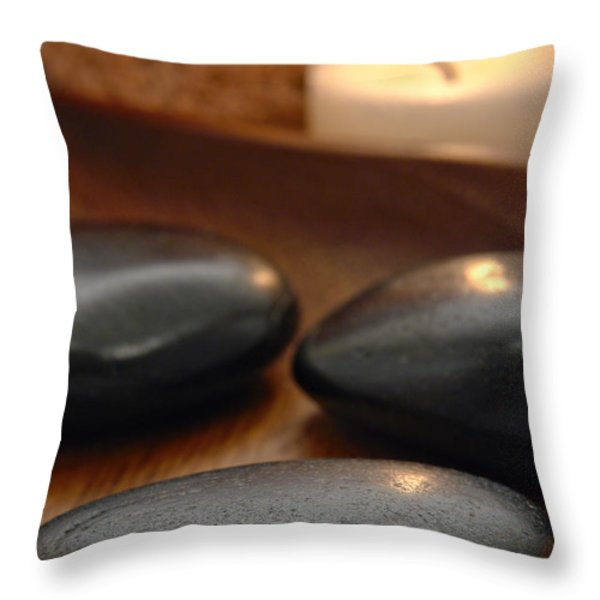 Polished Stones in a Spa Throw Pillow by Olivier Le Queinec