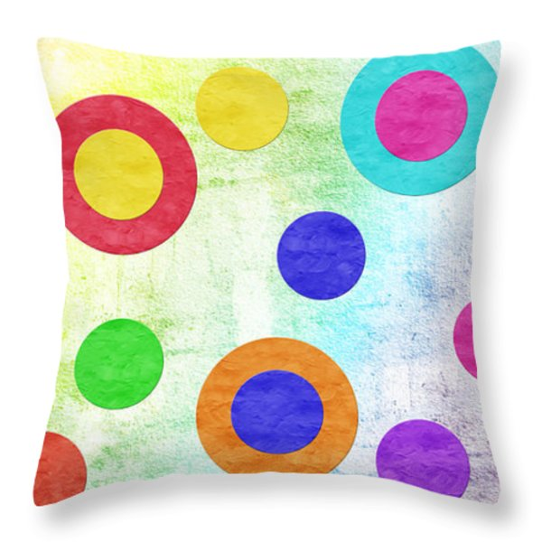Polka Dot Panorama - Rainbow - Circles - Shapes Throw Pillow by Andee Design