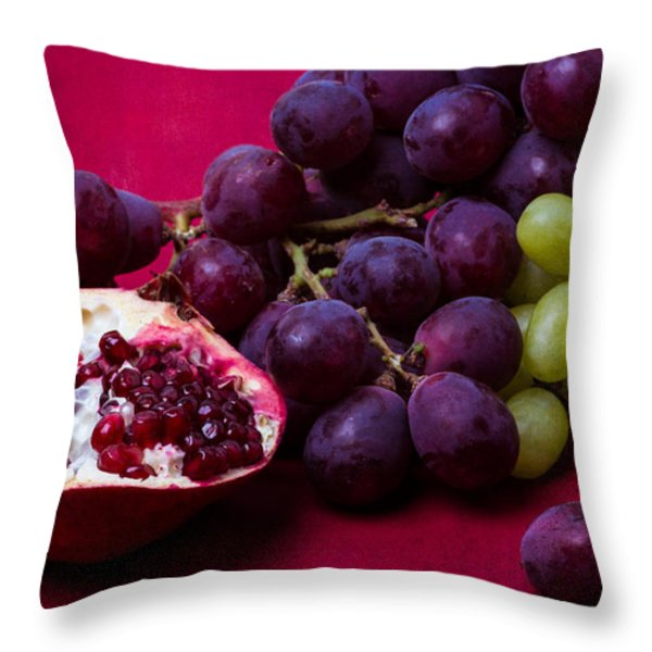 Pomegranate And Green And Red Grapes Throw Pillow by Alexander Senin