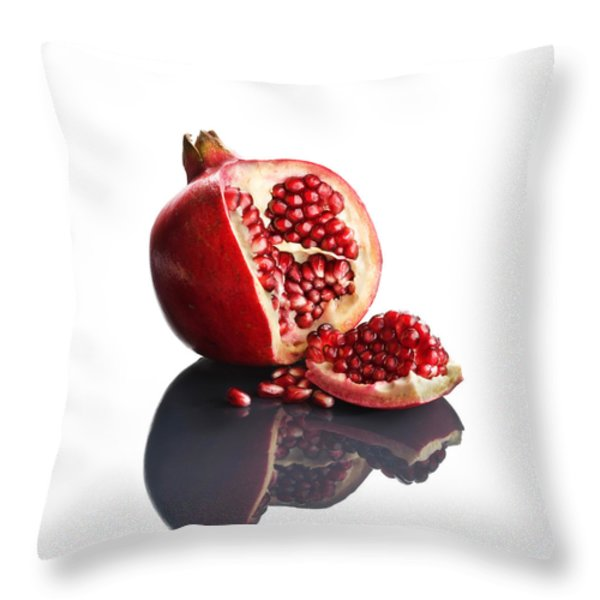 Pomegranate Opened Up On Reflective Surface Throw Pillow by Johan Swanepoel