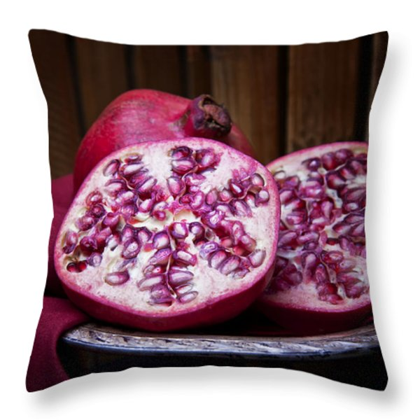 Pomegranate Still Life Throw Pillow by Tom Mc Nemar