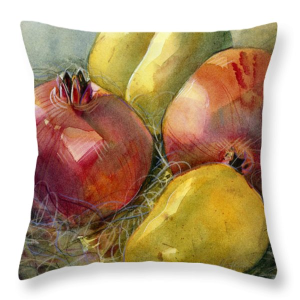 Pomegranates and Pears Throw Pillow by Jen Norton
