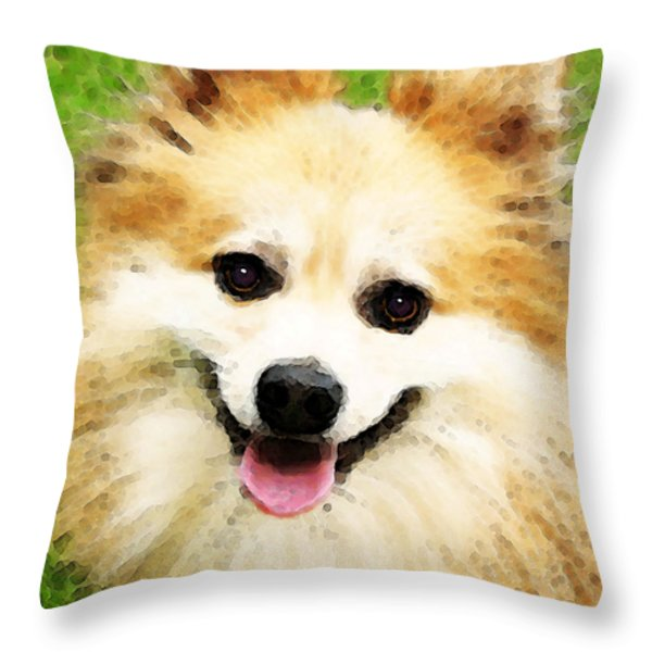 Pomeranian - Bright Eyes Throw Pillow by Sharon Cummings