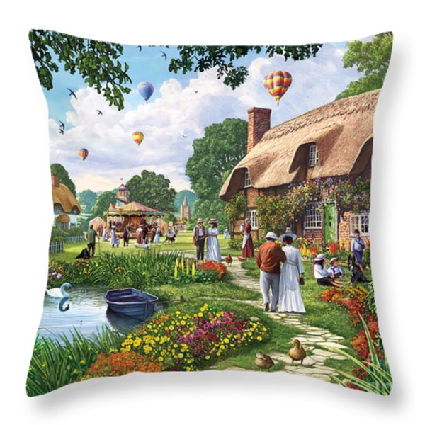 Pond Cottage Throw Pillow by Steve Crisp