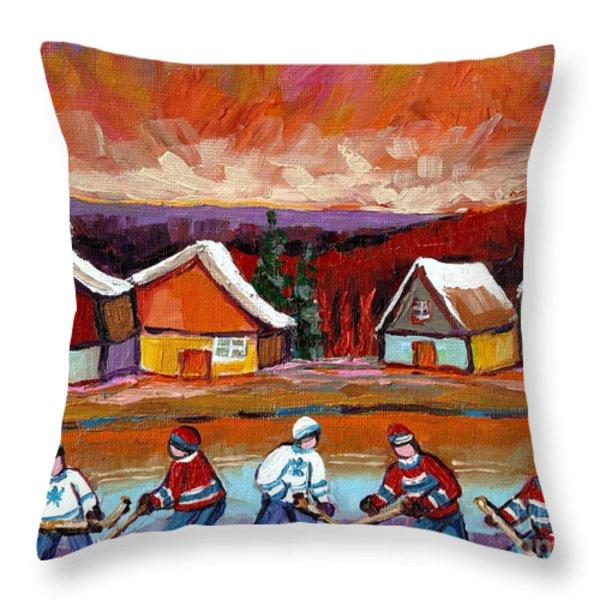 Pond Hockey Game 2 Throw Pillow by Carole Spandau