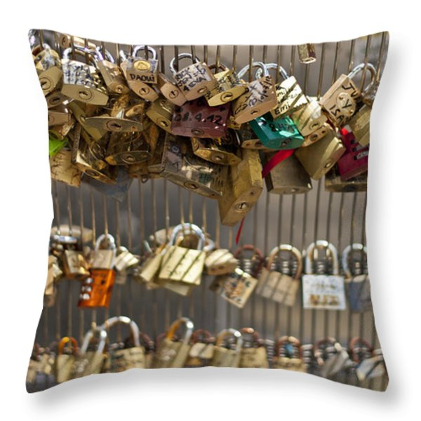 Pont Des Artes Throw Pillow by Nomad Art And  Design
