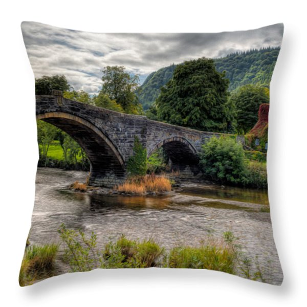 Pont Fawr 1636 Throw Pillow by Adrian Evans