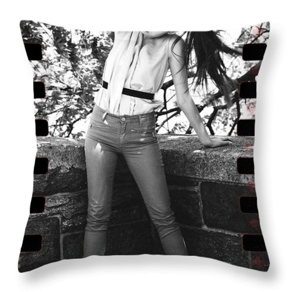 Pony Tail Lady Throw Pillow by Alice Gipson