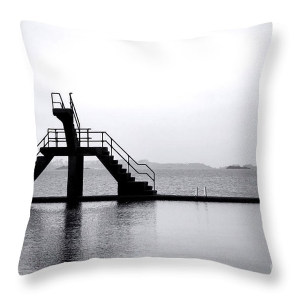 Pool By The Sea Throw Pillow by Olivier Le Queinec