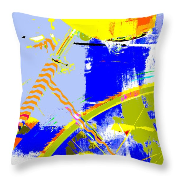 Pop Art Bicycle in Blue and Yellow Throw Pillow by Anahi DeCanio