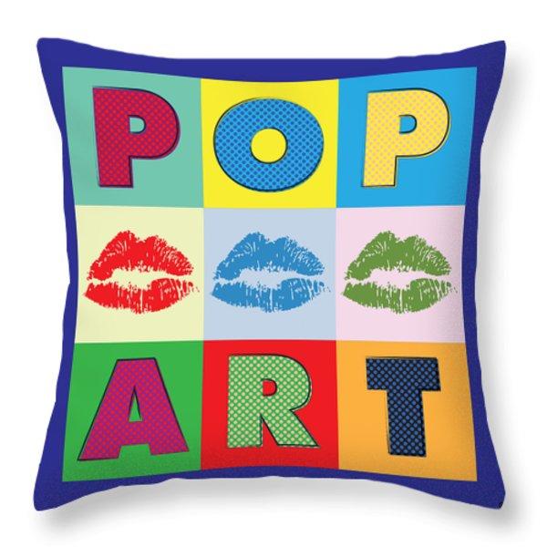 Pop Art Lips Throw Pillow by Gary Grayson