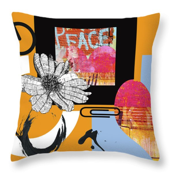 Pop Art Peace And Love Ny Urban Collage Throw Pillow by Anahi Decanio