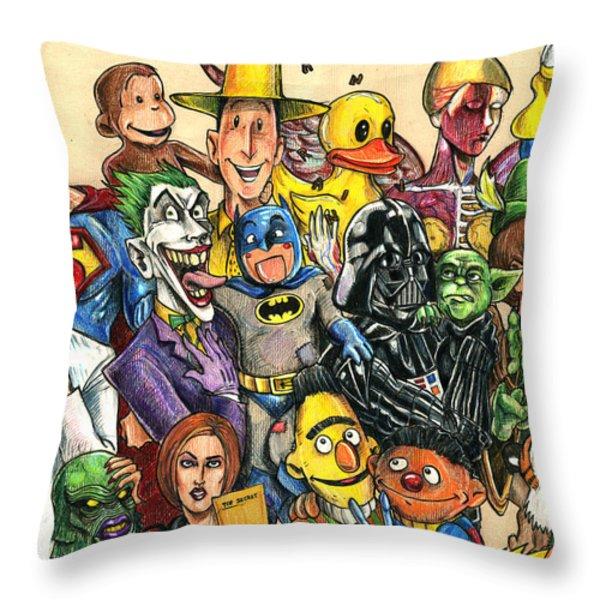 Pop Culture Ventriloquist Mashup Throw Pillow by John Ashton Golden