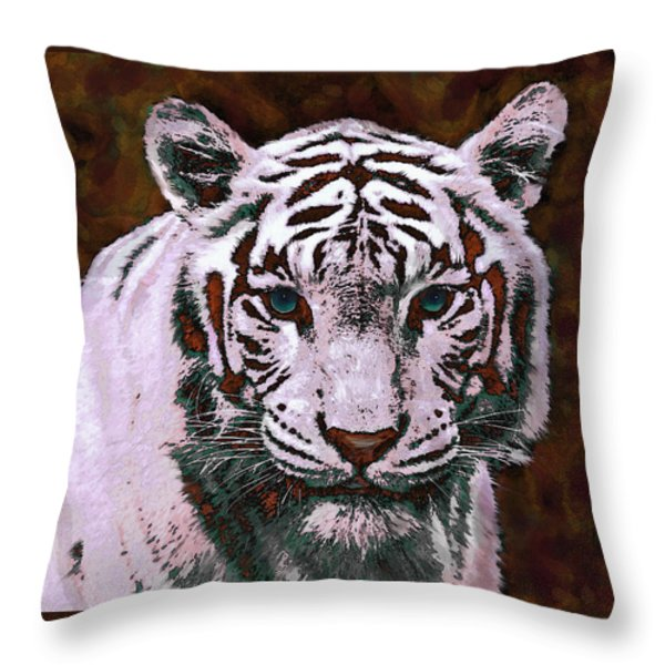 Popart White Tiger- Larger Throw Pillow by Jane Schnetlage