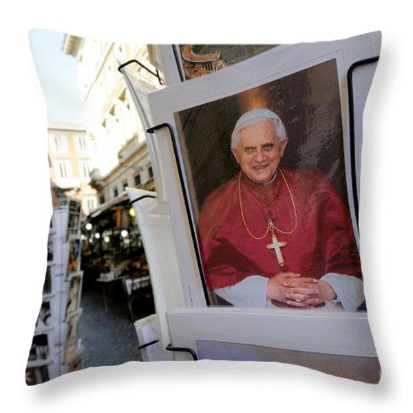 Pope Benedict XVI. postcard in a rack. Rome. Lazio. Italy. Europe Throw Pillow by BERNARD JAUBERT