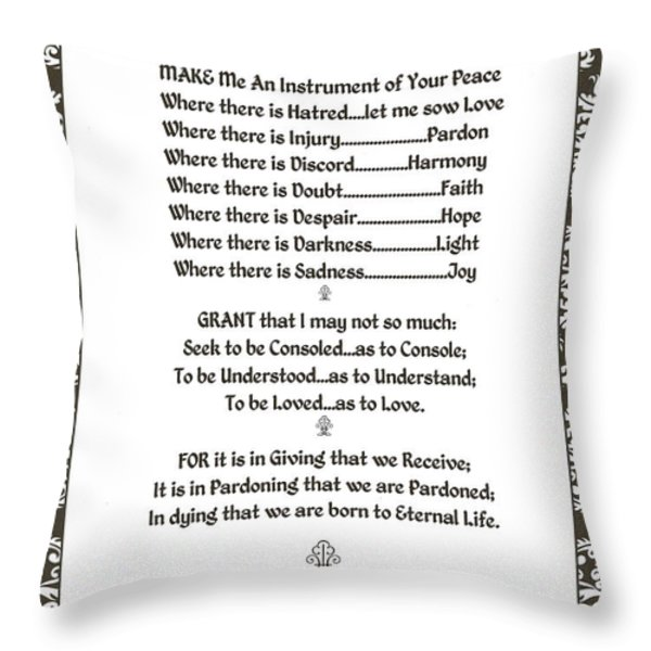 Pope Francis St. Francis Simple Prayer Filigreefaith Throw Pillow by Desiderata Gallery