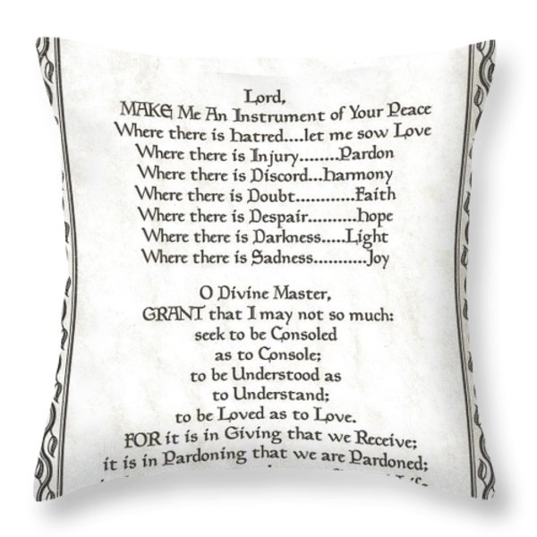 Pope Francis St. Francis Simple Prayer Leaf Parchment Throw Pillow by Desiderata Gallery