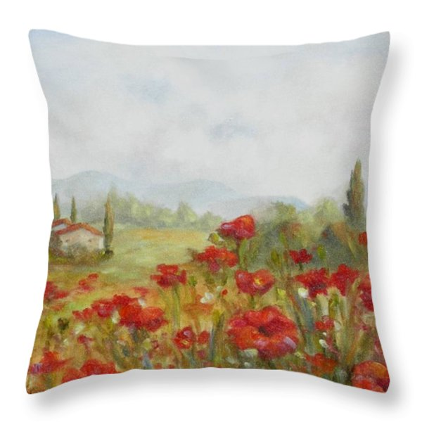 Poppies Throw Pillow by Chris Brandley
