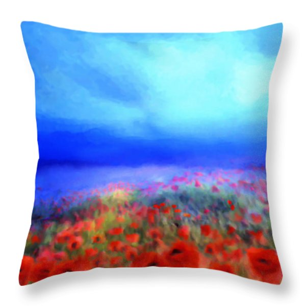 Poppies In The Mist Throw Pillow by Valerie Anne Kelly