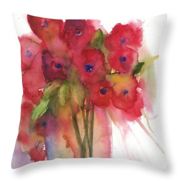 Poppies Throw Pillow by Sherry Harradence