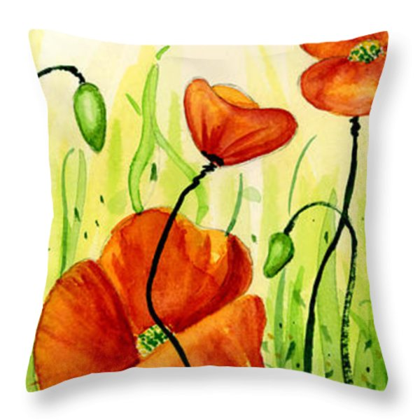 Poppy Field Throw Pillow by Annie Troe