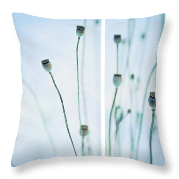 Poppy Seed Pods Throw Pillow by Theresa Tahara