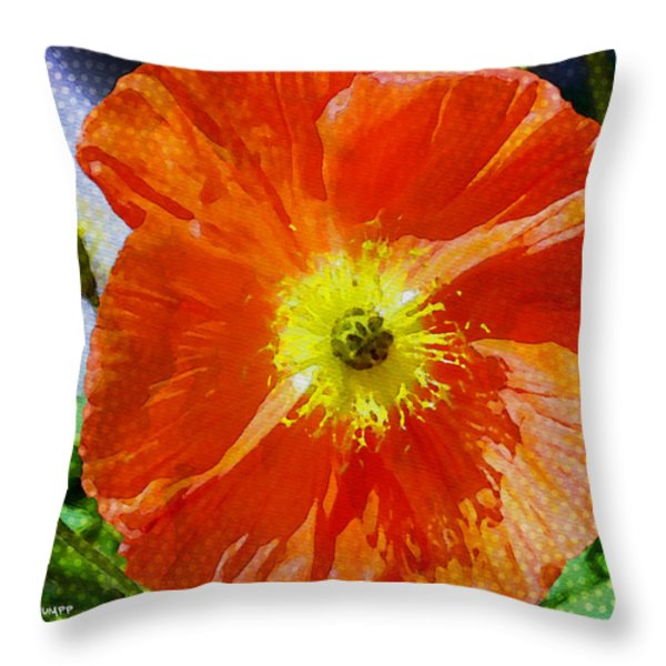 Poppy Series - Opened To The Sun Throw Pillow by Moon Stumpp