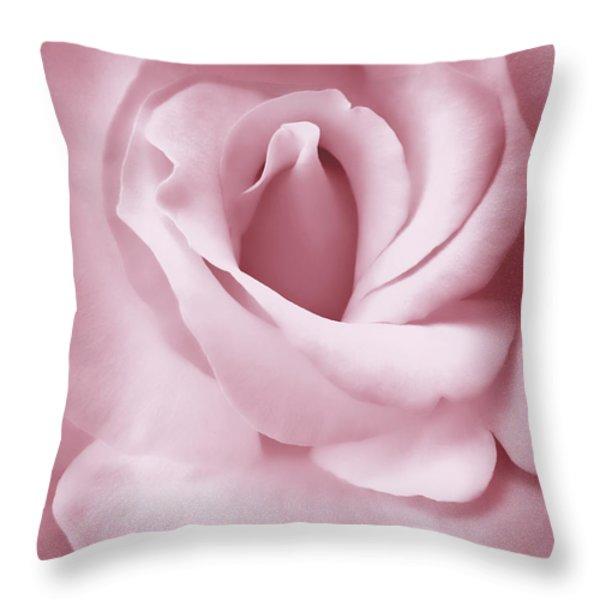 Porcelain Pink Rose Flower Throw Pillow by Jennie Marie Schell