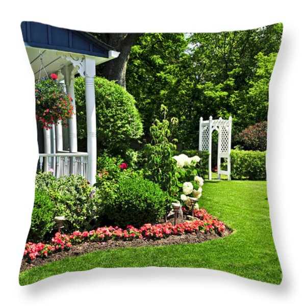 Porch And Garden Throw Pillow by Elena Elisseeva